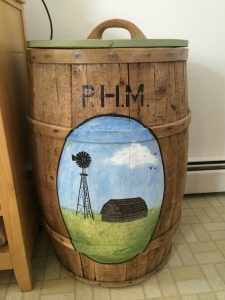 Special thanks to our talented cousin and uncle, Shannon and Michael for restoring our grandfather's barrel (PHM)